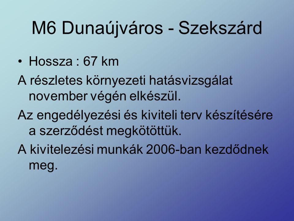 M6 Dunaújváros - Szekszárd Hossza : 67 km A részletes környezeti hatásvizsgálat november végén elkészül. Az engedélyezési és kiviteli terv készítésére