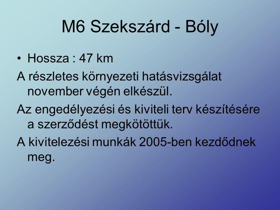 M6 Szekszárd - Bóly Hossza : 47 km A részletes környezeti hatásvizsgálat november végén elkészül. Az engedélyezési és kiviteli terv készítésére a szer
