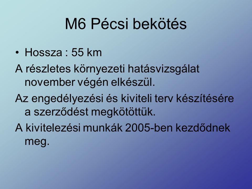 M6 Pécsi bekötés Hossza : 55 km A részletes környezeti hatásvizsgálat november végén elkészül. Az engedélyezési és kiviteli terv készítésére a szerződ