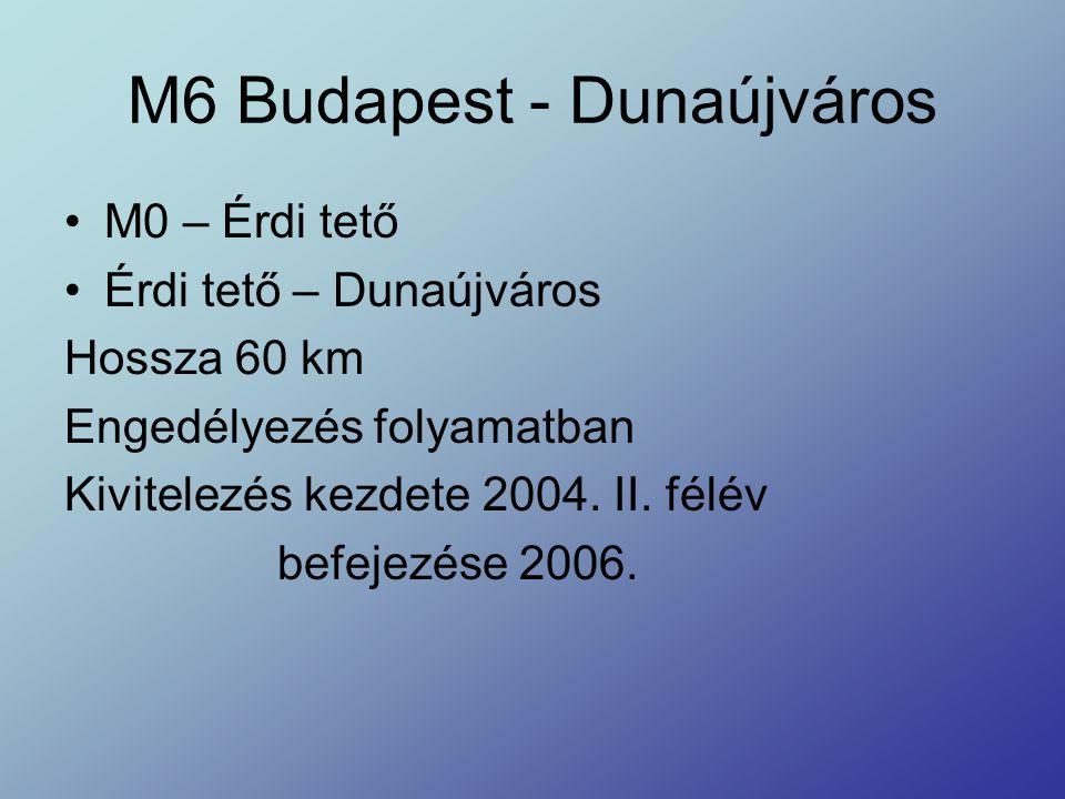 M6 Budapest - Dunaújváros M0 – Érdi tető Érdi tető – Dunaújváros Hossza 60 km Engedélyezés folyamatban Kivitelezés kezdete 2004. II. félév befejezése