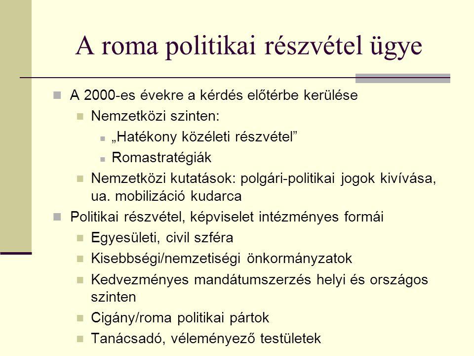 """A roma politikai részvétel ügye A 2000-es évekre a kérdés előtérbe kerülése Nemzetközi szinten: """"Hatékony közéleti részvétel"""" Romastratégiák Nemzetköz"""