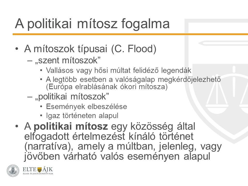 """A politikai mítosz fogalma A mítoszok típusai (C. Flood) –""""szent mítoszok"""" Vallásos vagy hősi múltat felidéző legendák A legtöbb esetben a valóságalap"""
