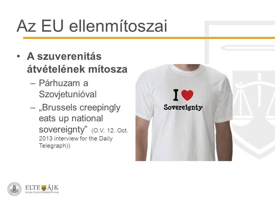 """Az EU ellenmítoszai A szuverenitás átvételének mítosza –Párhuzam a Szovjetunióval –""""Brussels creepingly eats up national sovereignty"""" (O.V. 12. Oct. 2"""