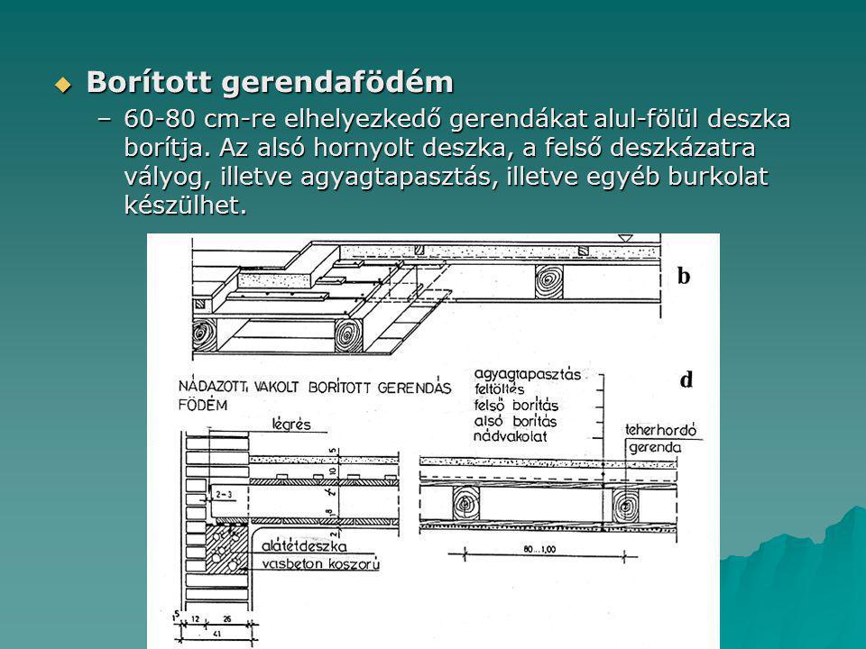  Borított gerendafödém –60-80 cm-re elhelyezkedő gerendákat alul-fölül deszka borítja. Az alsó hornyolt deszka, a felső deszkázatra vályog, illetve a