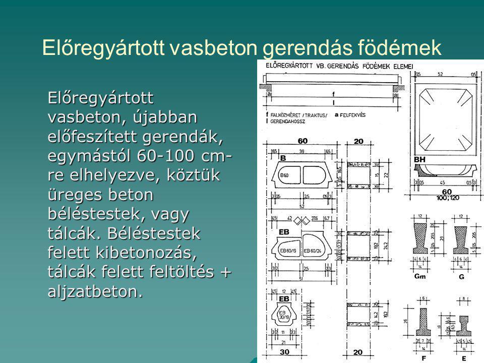 Előregyártott vasbeton gerendás födémek Előregyártott vasbeton, újabban előfeszített gerendák, egymástól 60-100 cm- re elhelyezve, köztük üreges beton béléstestek, vagy tálcák.