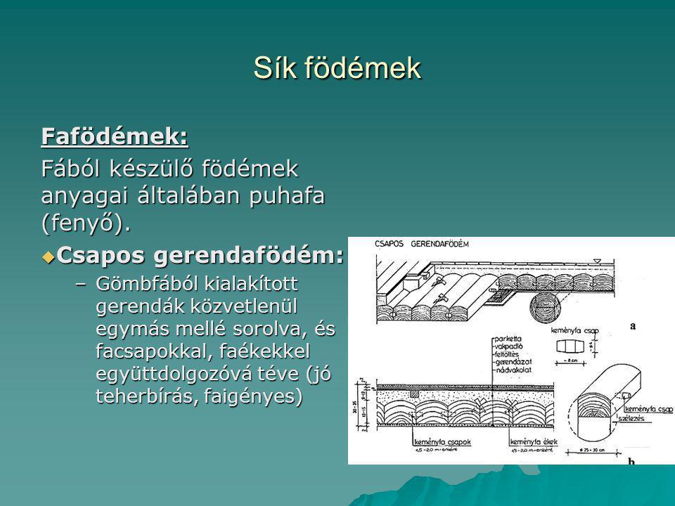 Sík födémek Fafödémek: Fából készülő födémek anyagai általában puhafa (fenyő).