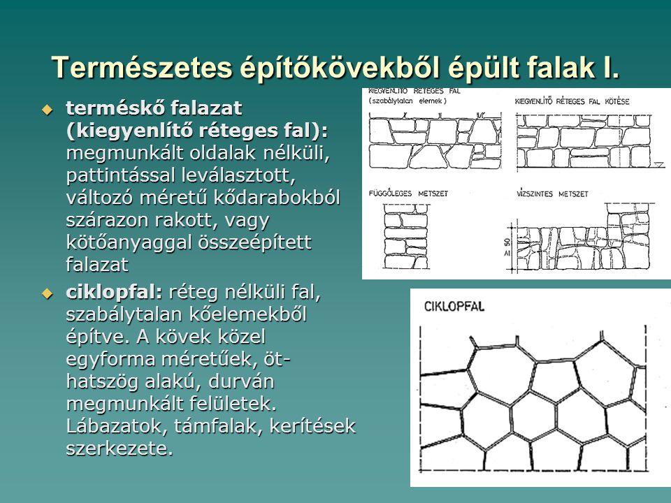 Természetes építőkövekből épült falak I.  terméskő falazat (kiegyenlítő réteges fal): megmunkált oldalak nélküli, pattintással leválasztott, változó