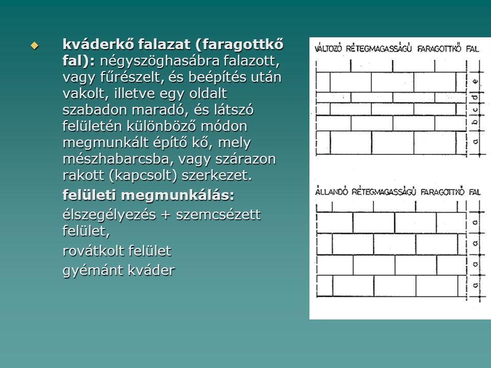  kváderkő falazat (faragottkő fal): négyszöghasábra falazott, vagy fűrészelt, és beépítés után vakolt, illetve egy oldalt szabadon maradó, és látszó