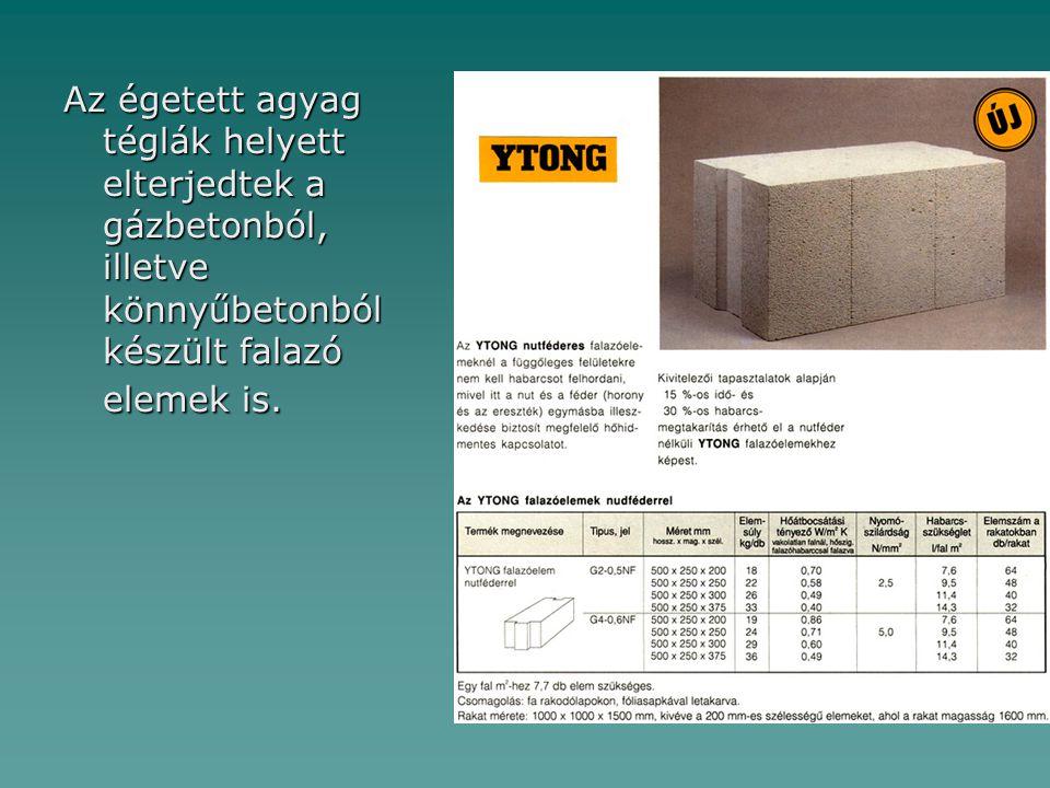 Az égetett agyag téglák helyett elterjedtek a gázbetonból, illetve könnyűbetonból készült falazó elemek is.