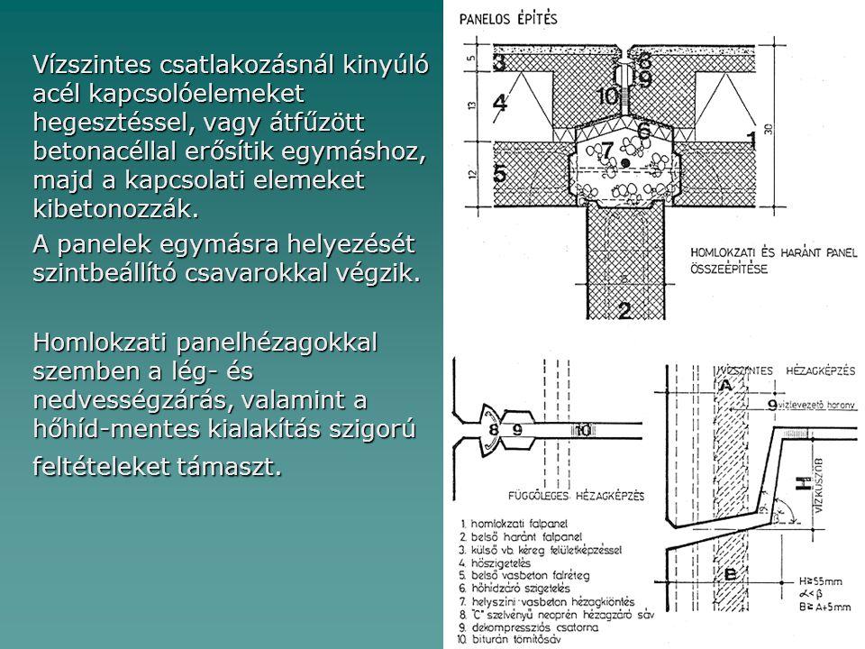 Vízszintes csatlakozásnál kinyúló acél kapcsolóelemeket hegesztéssel, vagy átfűzött betonacéllal erősítik egymáshoz, majd a kapcsolati elemeket kibeto
