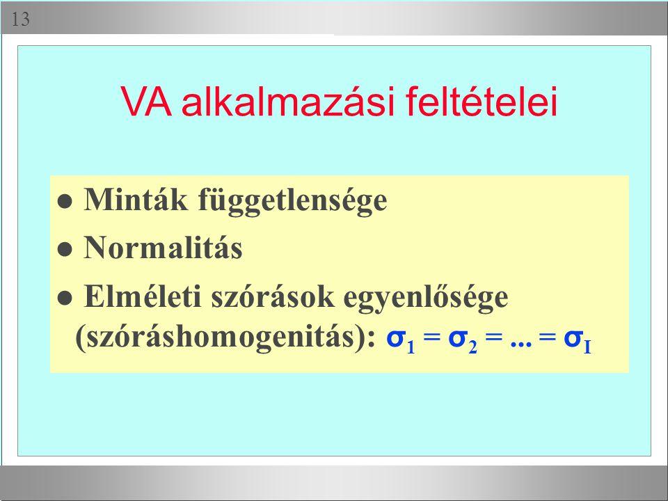  VA alkalmazási feltételei l Minták függetlensége l Normalitás Elméleti szórások egyenlősége (szóráshomogenitás): σ 1 = σ 2 =... = σ I