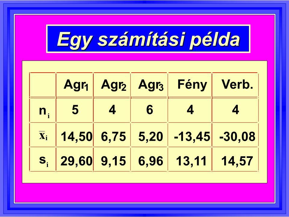 Egy számítási példa Agr 1 2 3 FényVerb. n i 54644 x i 14,506,755,20-13,45-30,08 s i 29,609,156,9613,1114,57