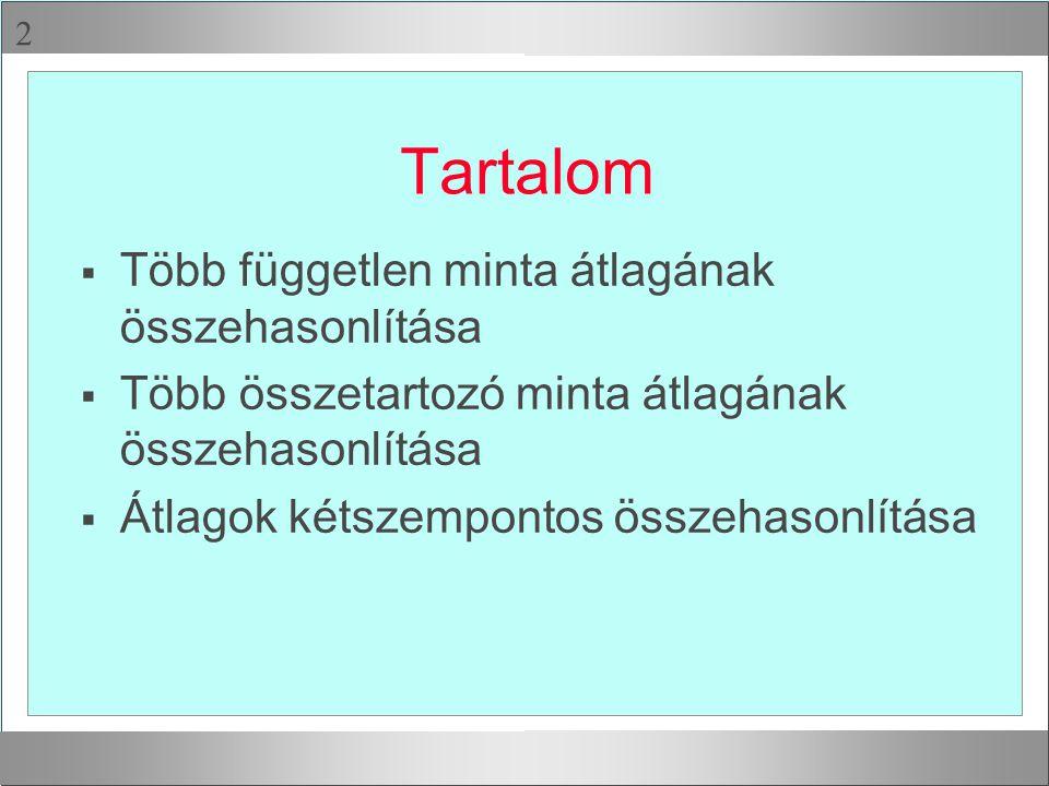 Kétszempontos vegyes VA Független változók (szempontváltozók): 1 csoportosító változó (pl.
