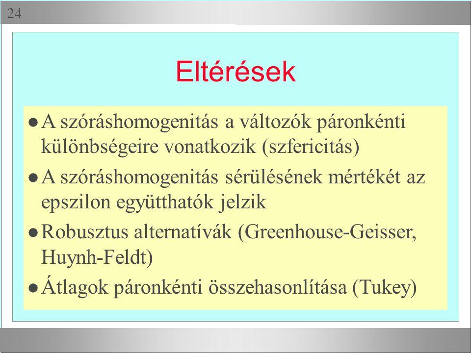  Eltérések l A szóráshomogenitás a változók páronkénti különbségeire vonatkozik (szfericitás) l A szóráshomogenitás sérülésének mértékét az epszilon