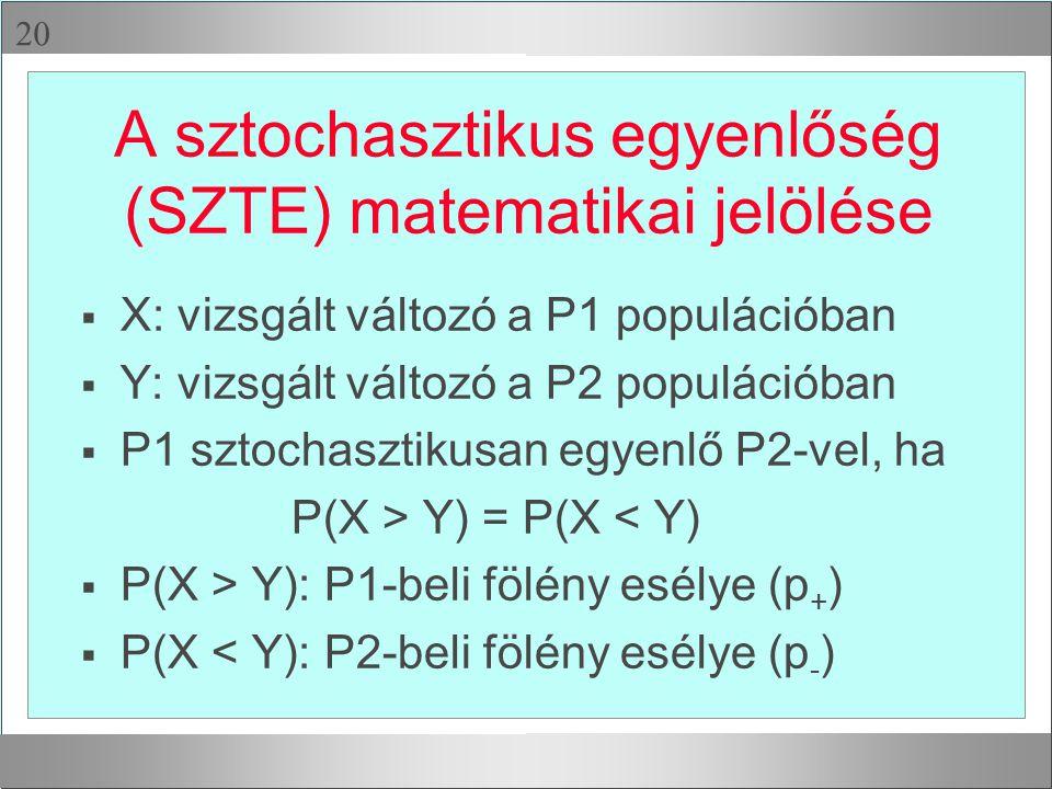  A sztochasztikus egyenlőség (SZTE) matematikai jelölése  X: vizsgált változó a P1 populációban  Y: vizsgált változó a P2 populációban  P1 sztoch