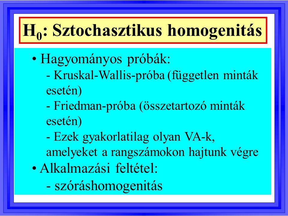 H 0 : Sztochasztikus homogenitás Hagyományos próbák: - Kruskal-Wallis-próba (független minták esetén) - Friedman-próba (összetartozó minták esetén) -