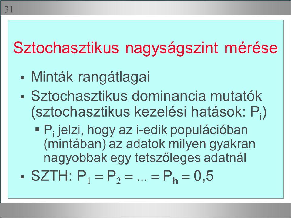  Sztochasztikus nagyságszint mérése  Minták rangátlagai  Sztochasztikus dominancia mutatók (sztochasztikus kezelési hatások: P i )  P i jelzi, ho