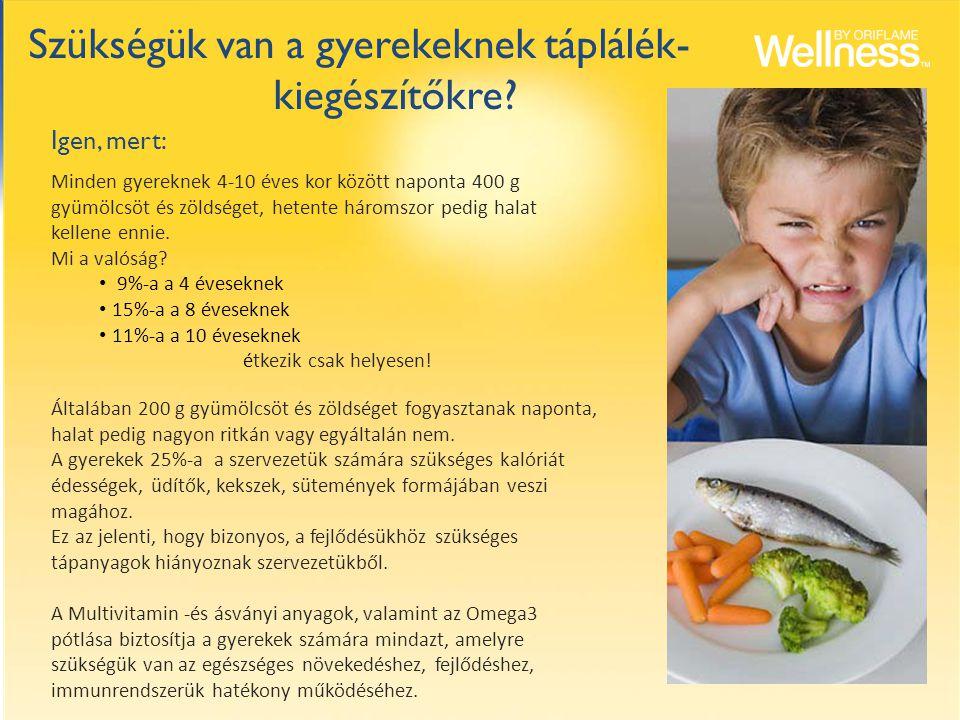 Minden gyereknek 4-10 éves kor között naponta 400 g gyümölcsöt és zöldséget, hetente háromszor pedig halat kellene ennie. Mi a valóság? 9%-a a 4 évese