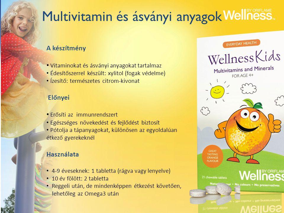 Multivitamin és ásványi anyagok A készítmény Vitaminokat és ásványi anyagokat tartalmaz Édesítőszerrel készült: xylitol (fogak védelme) Ízesítő: termé