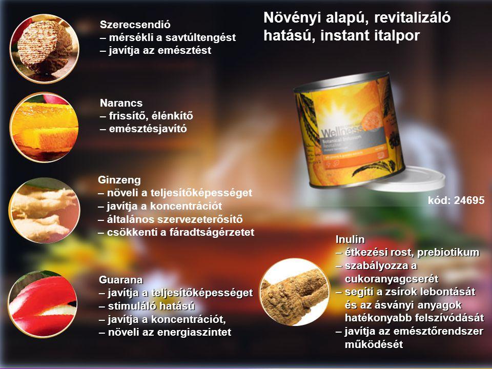 Szerecsendió – mérsékli a savtúltengést – javítja az emésztést Narancs – frissítő, élénkítő – emésztésjavító Ginzeng – növeli a teljesítőképességet – javítja a koncentrációt – általános szervezeterősítő – csökkenti a fáradtságérzetet Guarana – javítja a teljesítőképességet – stimuláló hatású – javítja a koncentrációt, – növeli az energiaszintet Növényi alapú, revitalizáló hatású, instant italporInulin – étkezési rost, prebiotikum – szabályozza a cukoranyagcserét cukoranyagcserét – segíti a zsírok lebontását és az ásványi anyagok és az ásványi anyagok hatékonyabb felszívódását hatékonyabb felszívódását – javítja az emésztőrendszer működését működését kód: 24695