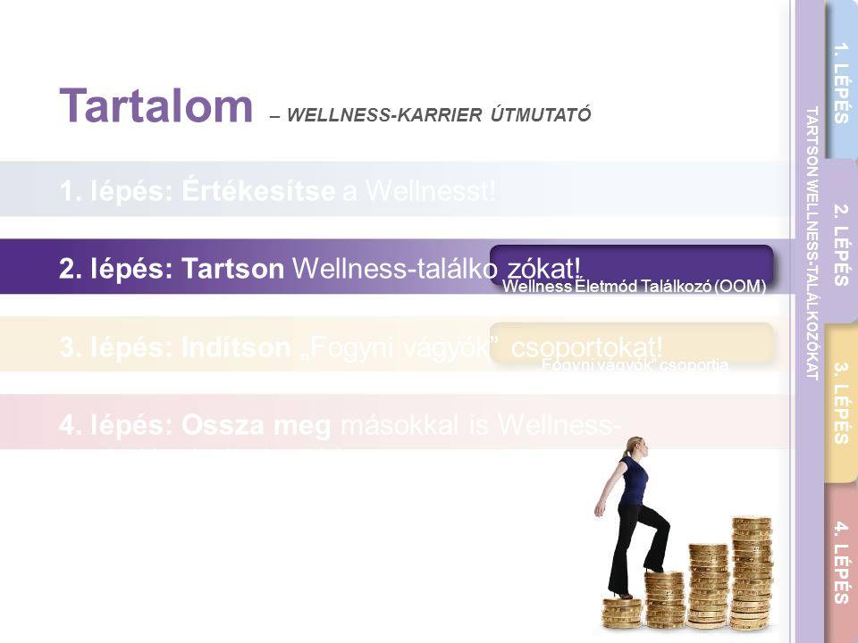 """THE WELLNESS CAREER GUIDE 1. LÉPÉS 2. LÉPÉS 3. LÉPÉS 4. LÉPÉS TARTSON WELLNESS-TALÁLKOZÓKAT Wellness Életmód Találkozó (OOM) """"Fogyni vágyók"""" csoportja"""