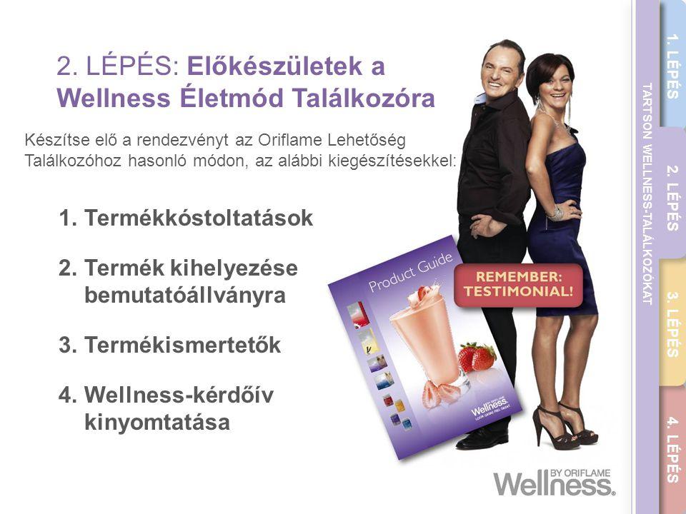 THE WELLNESS CAREER GUIDE 2. LÉPÉS: Előkészületek a Wellness Életmód Találkozóra 1.Termékkóstoltatások 2.Termék kihelyezése bemutatóállványra 3.Termék