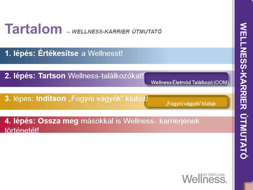 THE WELLNESS CAREER GUIDE Tartalom – WELLNESS-KARRIER ÚTMUTATÓ 1. lépés: Értékesítse a Wellnesst! 2. lépés: Tartson Wellness-találkozókat! 3. lépés: I