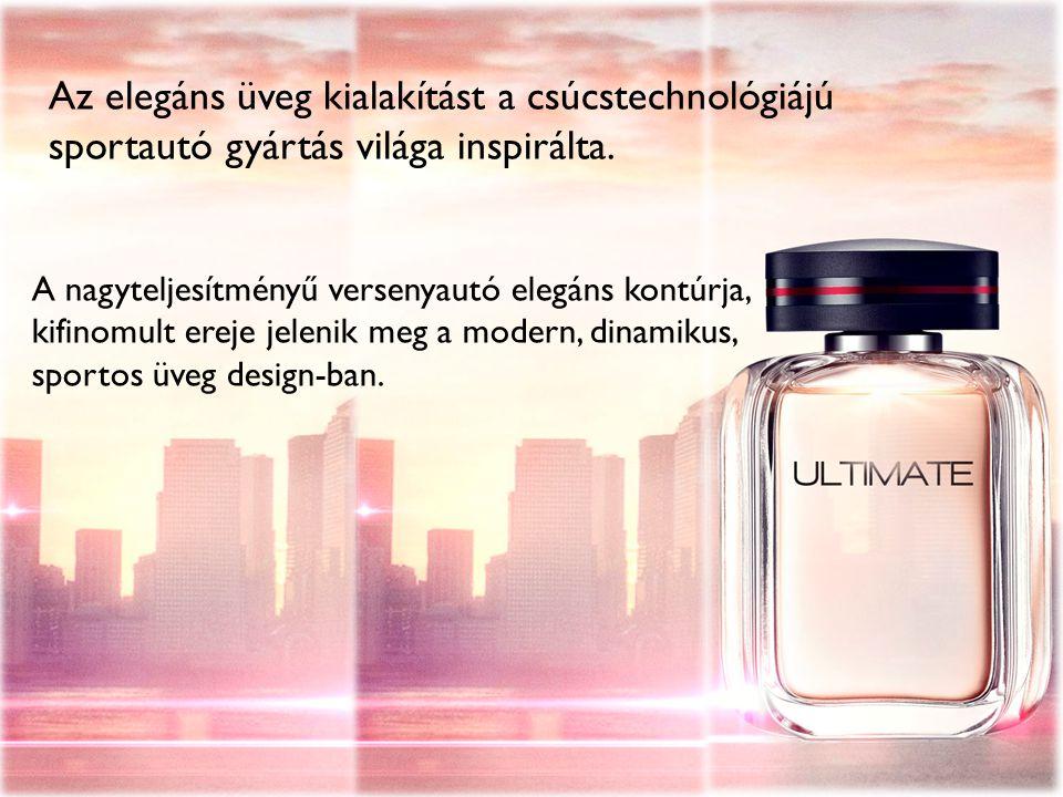 A nagyteljesítményű versenyautó elegáns kontúrja, kifinomult ereje jelenik meg a modern, dinamikus, sportos üveg design-ban.