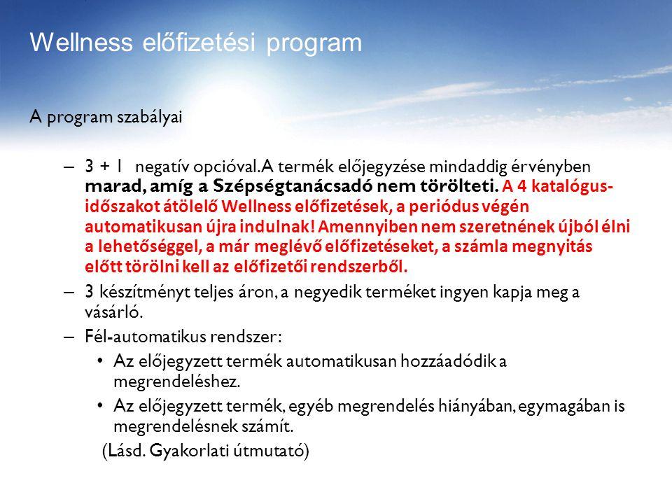 A program szabályai – 3 + 1 negatív opcióval.
