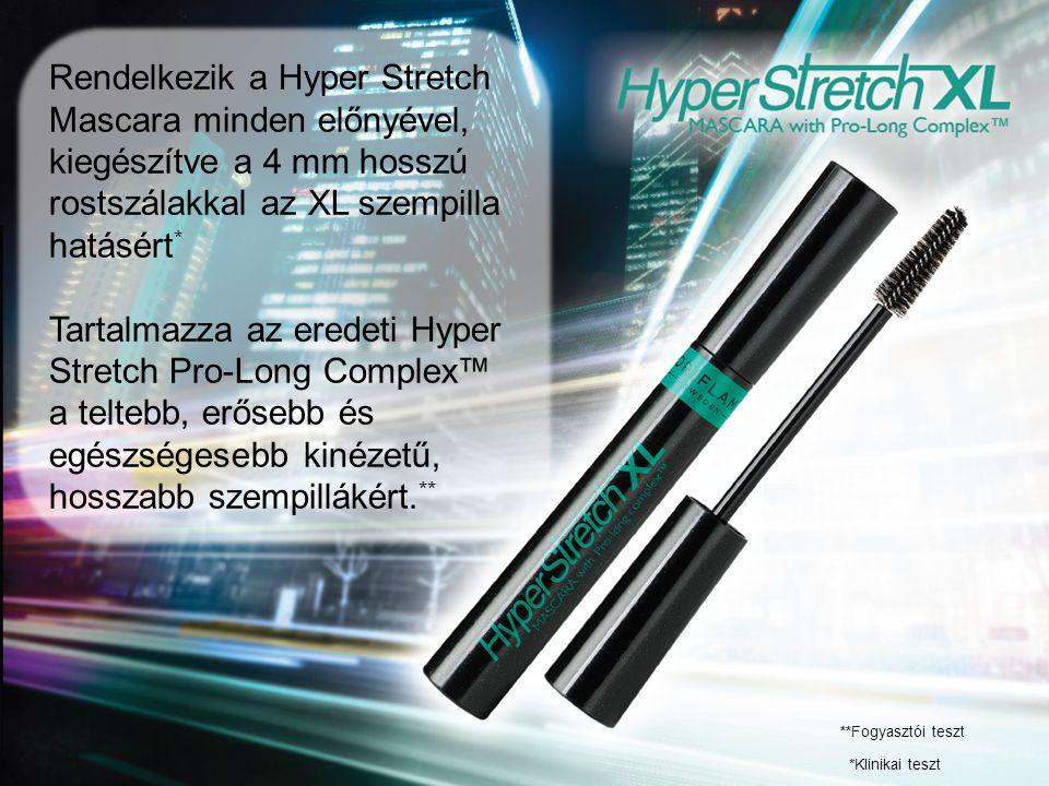 Rendelkezik a Hyper Stretch Mascara minden előnyével, kiegészítve a 4 mm hosszú rostszálakkal az XL szempilla hatásért * Tartalmazza az eredeti Hyper Stretch Pro-Long Complex™ a teltebb, erősebb és egészségesebb kinézetű, hosszabb szempillákért.