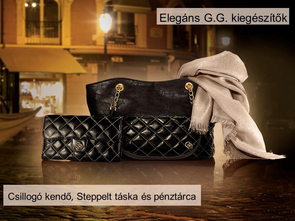Elegáns G.G. kiegészítők Csillogó kendő, Steppelt táska és pénztárca