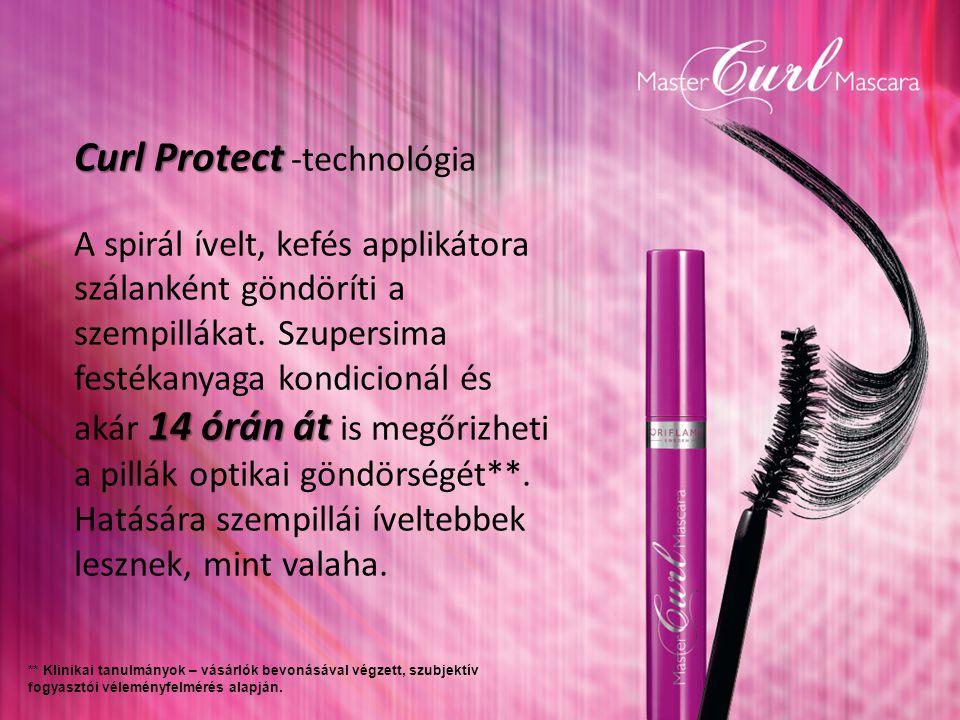 Curl Protect Curl Protect -technológia 14 órán át A spirál ívelt, kefés applikátora szálanként göndöríti a szempillákat.