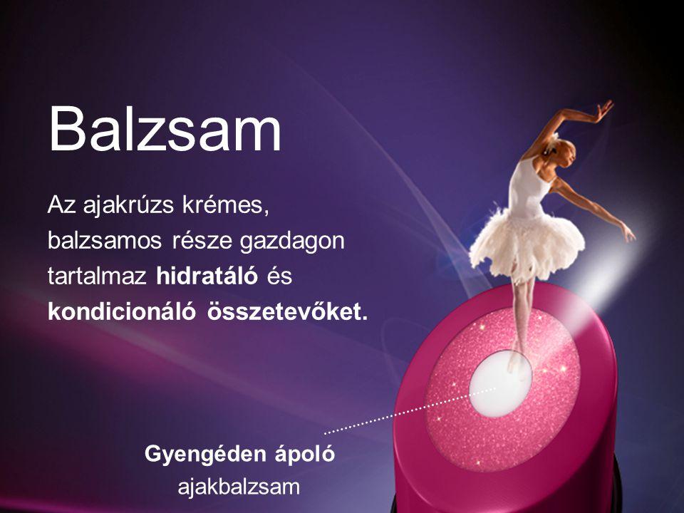 Balzsam Az ajakrúzs krémes, balzsamos része gazdagon tartalmaz hidratáló és kondicionáló összetevőket.