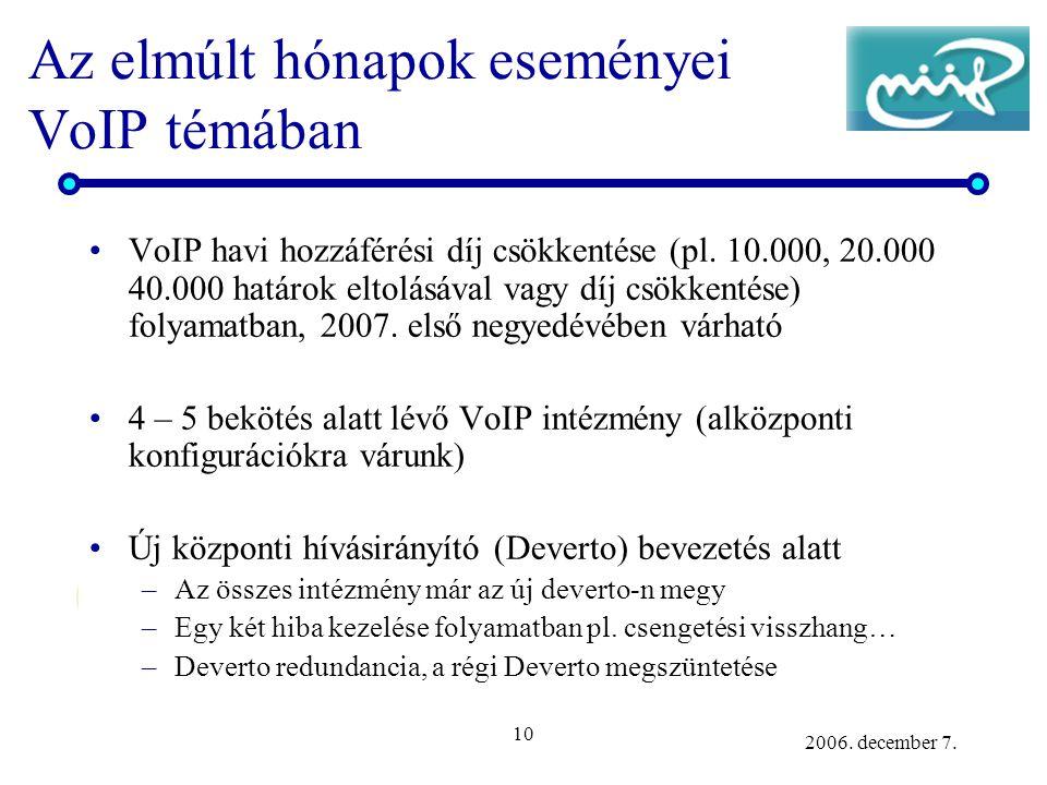 10 2006. december 7. Az elmúlt hónapok eseményei VoIP témában VoIP havi hozzáférési díj csökkentése (pl. 10.000, 20.000 40.000 határok eltolásával vag