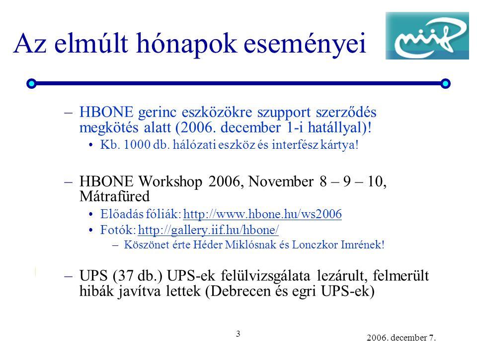 3 2006. december 7. Az elmúlt hónapok eseményei –HBONE gerinc eszközökre szupport szerződés megkötés alatt (2006. december 1-i hatállyal)! Kb. 1000 db
