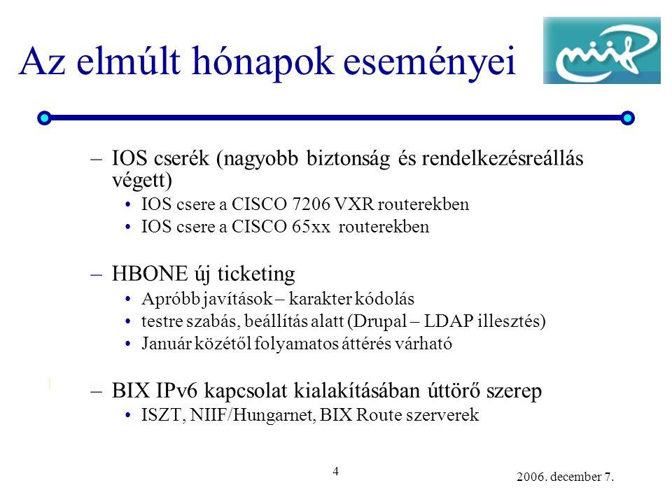4 2006. december 7. Az elmúlt hónapok eseményei –IOS cserék (nagyobb biztonság és rendelkezésreállás végett) IOS csere a CISCO 7206 VXR routerekben IO