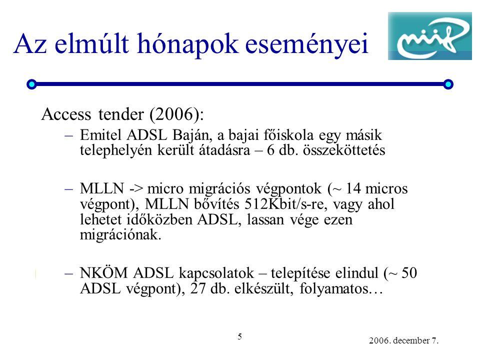 5 2006. december 7. Az elmúlt hónapok eseményei Access tender (2006): –Emitel ADSL Baján, a bajai főiskola egy másik telephelyén került átadásra – 6 d