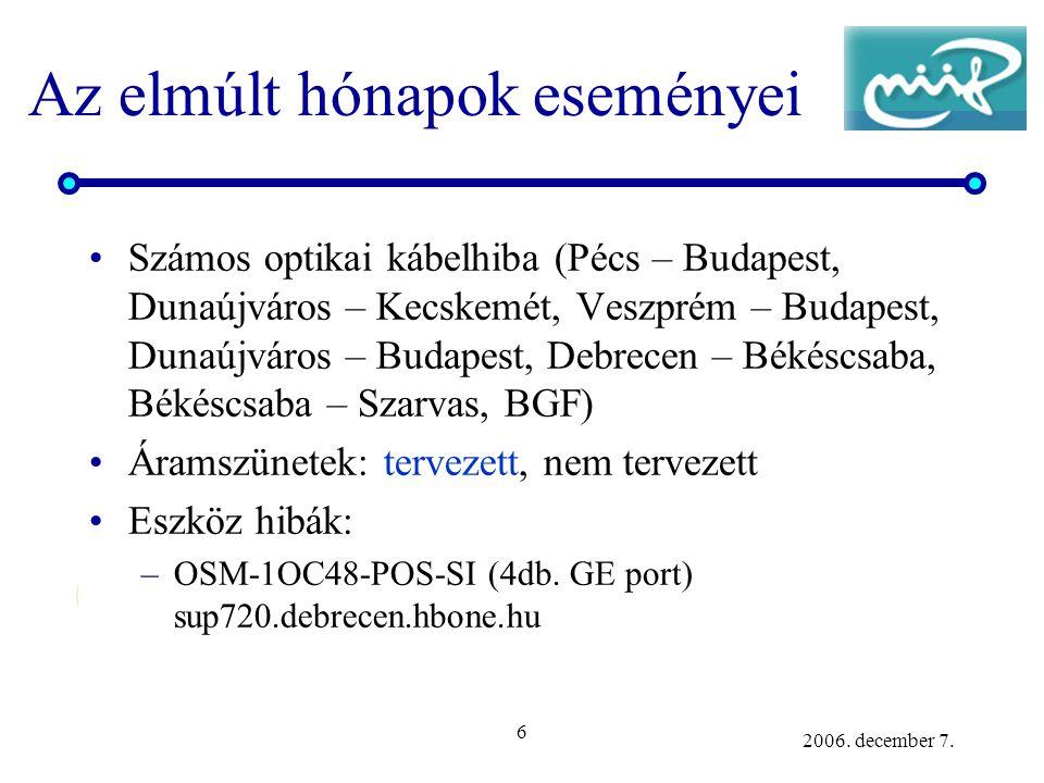 6 2006. december 7. Az elmúlt hónapok eseményei Számos optikai kábelhiba (Pécs – Budapest, Dunaújváros – Kecskemét, Veszprém – Budapest, Dunaújváros –