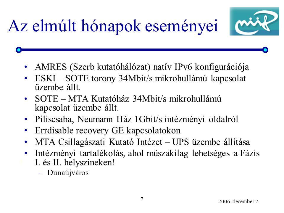 7 2006. december 7. Az elmúlt hónapok eseményei AMRES (Szerb kutatóhálózat) natív IPv6 konfigurációja ESKI – SOTE torony 34Mbit/s mikrohullámú kapcsol