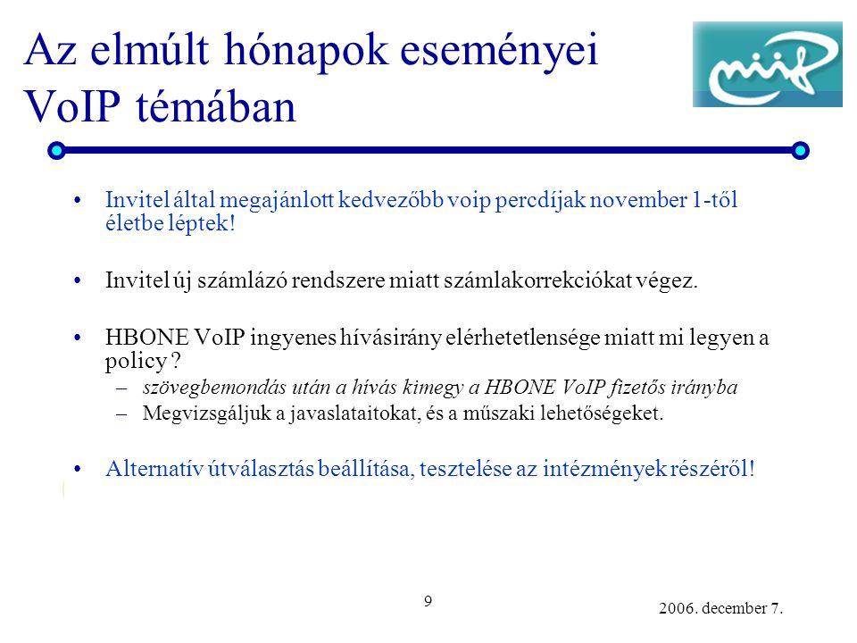 9 2006. december 7. Az elmúlt hónapok eseményei VoIP témában Invitel által megajánlott kedvezőbb voip percdíjak november 1-től életbe léptek! Invitel