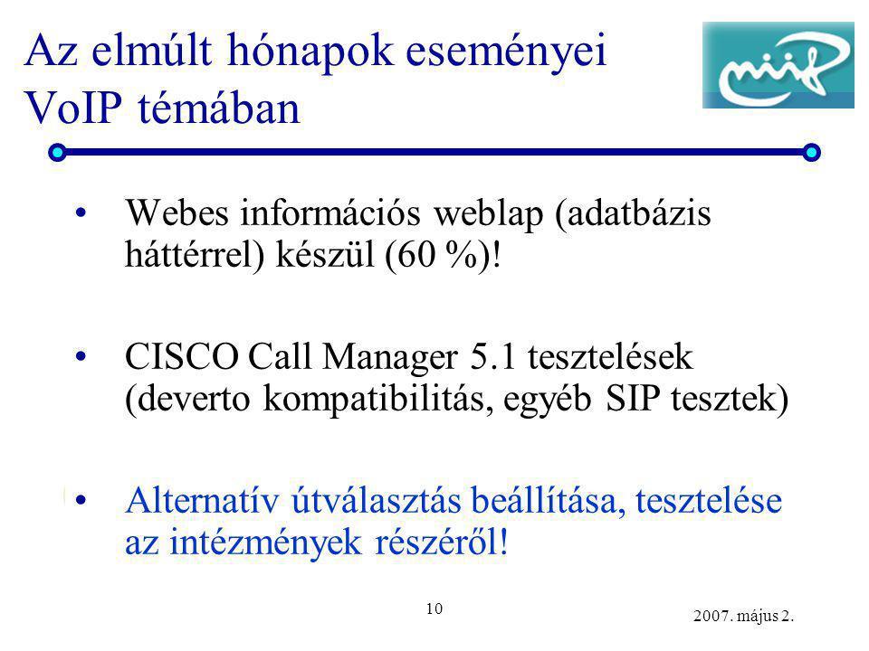 10 2007. május 2. Az elmúlt hónapok eseményei VoIP témában Webes információs weblap (adatbázis háttérrel) készül (60 %)! CISCO Call Manager 5.1 teszte