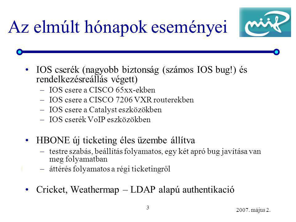 3 2007. május 2. Az elmúlt hónapok eseményei IOS cserék (nagyobb biztonság (számos IOS bug!) és rendelkezésreállás végett) –IOS csere a CISCO 65xx-ekb