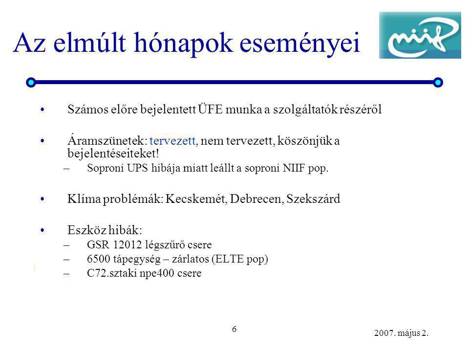 6 2007. május 2. Az elmúlt hónapok eseményei Számos előre bejelentett ÜFE munka a szolgáltatók részéről Áramszünetek: tervezett, nem tervezett, köszön