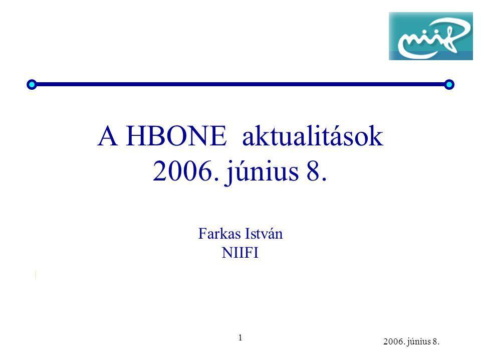 1 2006. június 8. A HBONE aktualitások 2006. június 8. Farkas István NIIFI