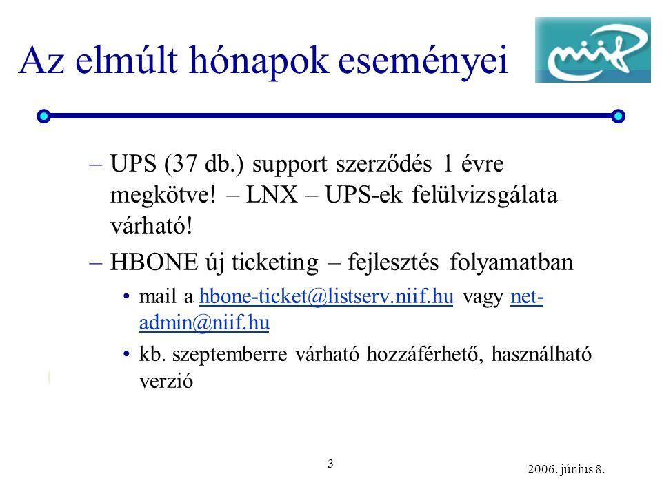 3 2006. június 8. Az elmúlt hónapok eseményei –UPS (37 db.) support szerződés 1 évre megkötve.