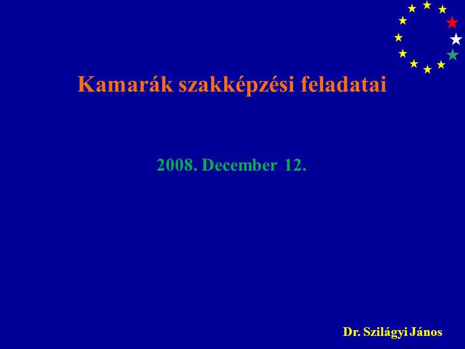 Kamarák szakképzési feladatai 2008. December 12. Dr. Szilágyi János