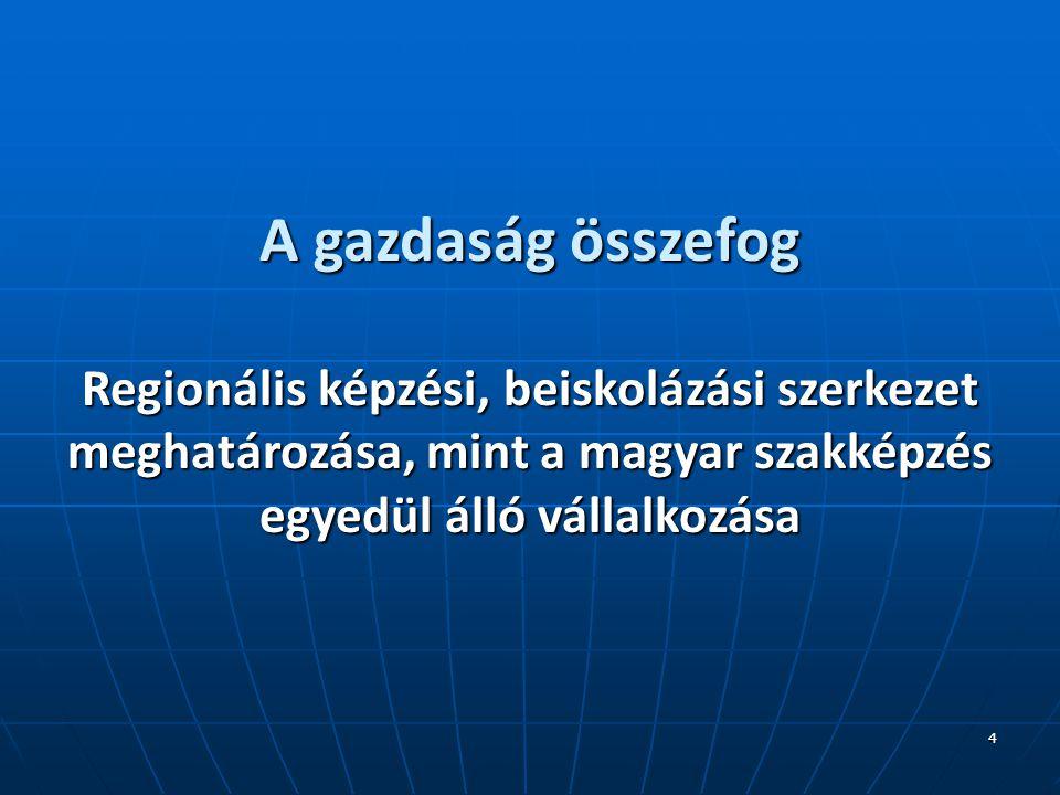 4 A gazdaság összefog Regionális képzési, beiskolázási szerkezet meghatározása, mint a magyar szakképzés egyedül álló vállalkozása