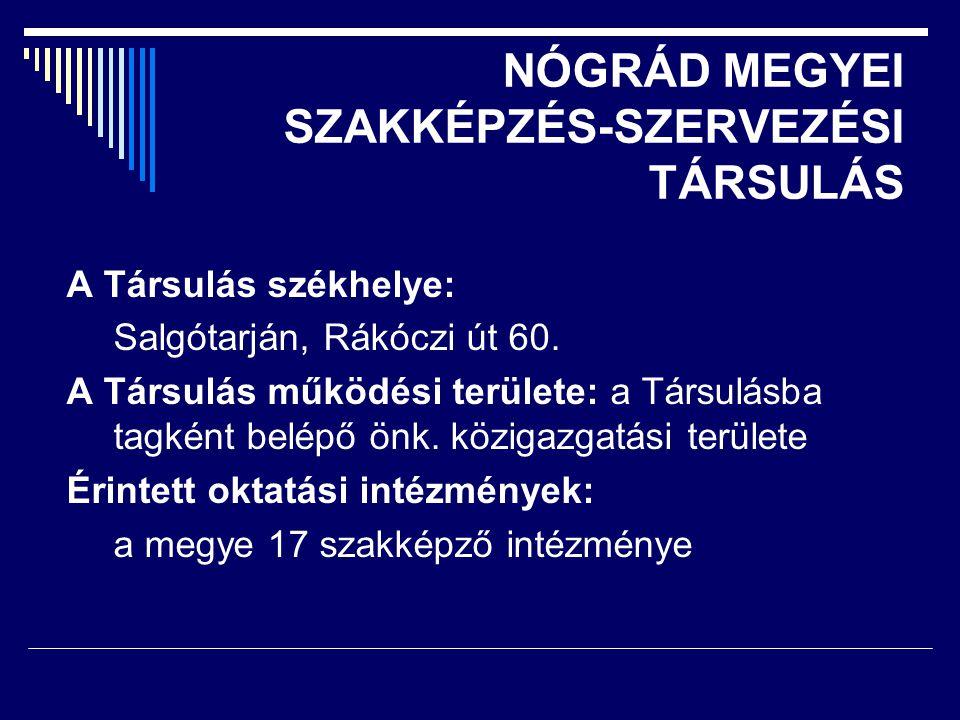 NÓGRÁD MEGYEI SZAKKÉPZÉS-SZERVEZÉSI TÁRSULÁS A Társulás székhelye: Salgótarján, Rákóczi út 60.