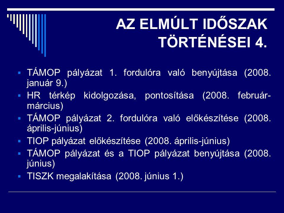 AZ ELMÚLT IDŐSZAK TÖRTÉNÉSEI 4.  TÁMOP pályázat 1.