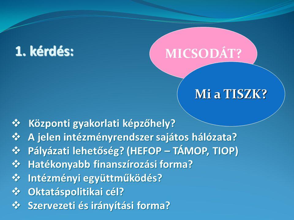 1. kérdés: MICSODÁT.  Központi gyakorlati képzőhely.